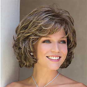 Synthetic Wig Curly Pixie Cut With Bangs Wig Short Golden Brown#12 Synthetic Hair 14 inch Women's Natural Hairline Exquisite Coloring Blonde Brown
