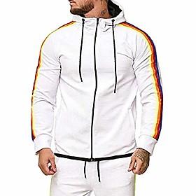 Men's Activewear Set Sweatshirt Color Block Hoodies Sweatshirts  ArmyGreen White Black