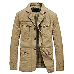 men's casual notched collar cotton jacket lightweight slim fit coat (xx-small, khaki)