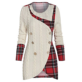Women's Sheath Dress Short Mini Dress - Long Sleeve Plaid Layered Ruffle Ruched Fall Winter Plus Size Vintage Sexy Going out 2020 Black Wine Green Beige Gray L