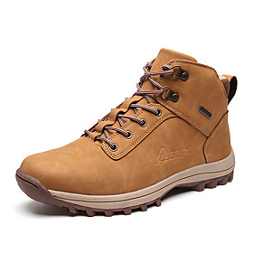 Men's Boots Casual Daily Outdoor Walking Shoes Faux Leather Warm Non-slipping Booties / Ankle Boots Light Brown / Black / Brown Winter