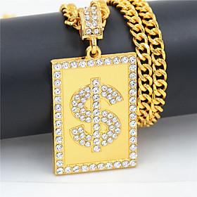 Men's Women's Clear Cubic Zirconia Pendant Necklace Necklace Long Dollars European Rock Hip Hop Zircon Chrome Gold 75 cm Necklace Jewelry 1pc For Street Sport