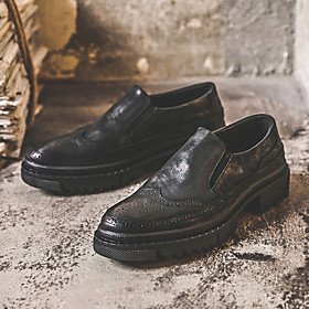 Men's Loafers  Slip-Ons Casual Daily Cowhide Wear Proof Black Spring / Fall