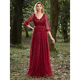 Women's A-Line Dress Maxi long Dress - 3/4 Length Sleeve Solid Color Embroidered Spring Fall V Neck Formal Elegant Party 2020 Red S M L XL XXL 3XL 4XL
