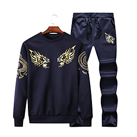 Men's 2-Piece Drawstring Tracksuit Sweatsuit Casual Long Sleeve 2pcs Fleece Thermal Warm Breathable Soft Running Jogging Sportswear Plus Size Outfit Set Clothi