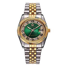men's luxury dress rhinestone stainless steel waterproof quartz date luminous casual watch silver green