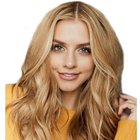 Synthetic Wig Body Wave Middle Part Wig Long Blonde Synthetic Hair Women's Fashionable Design Middle Part Blonde