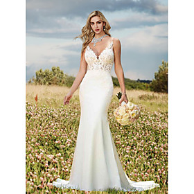 Mermaid / Trumpet Wedding Dresses V Neck Sweep / Brush Train Lace Charmeuse Regular Straps Sexy Backless with Draping Appliques 2020