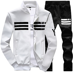 men's casual tracksuit long sleeve running jogging athletic sports set gray m