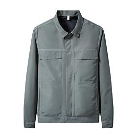 Men's Jacket Regular Solid Colored Daily Basic Black Light Green L XL XXL
