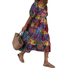Women's Swing Dress Midi Dress - Half Sleeve Print Print Fall Casual Boho Loose 2020 Red Green S M L XL XXL 3XL 4XL 5XL