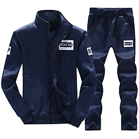 Men's 2-Piece Full Zip Tracksuit Sweatsuit Casual Long Sleeve 2pcs Thermal Warm Breathable Soft Running Jogging Sportswear Plus Size Outfit Set Clothing Suit S