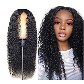Synthetic Wig Afro Curly Water Wave Middle Part Wig Long Very Long Black Synthetic Hair 65 inch Women's Elastic Party Middle Part Black