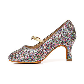 Women's Latin Shoes Heel Flared Heel PU Leather Buckle Glitter Black / Red / Gold / Silver