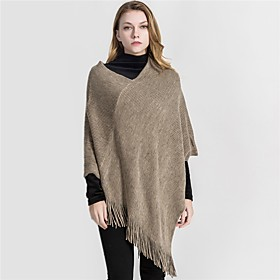 Women's Tassel Rectangle Scarf - Solid Colored Washable
