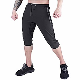 men's 3/4 jogger pants,capri shorts with zipper pockets for gym and workout,black,s