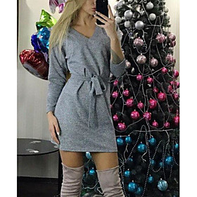 Women's A-Line Dress Short Mini Dress - Long Sleeve Solid Color Lace up Patchwork Fall V Neck Casual 2020 Green Gray S M L XL XXL