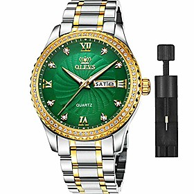 men's green watches fashion waterproof casual dress wrist watch men's classic diamond watch day and date sport watches stainless steel luxury man watch with ca