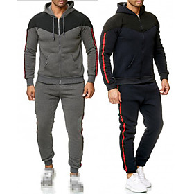Men's 2-Piece Drawstring Tracksuit Sweatsuit Long Sleeve 2pcs Thermal Warm Moisture Wicking Soft Fitness Gym Workout Running Jogging Training Sportswear Outfit