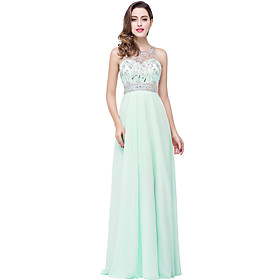 A-Line Elegant Minimalist Engagement Formal Evening Dress Illusion Neck Sleeveless Floor Length Chiffon with Pleats Crystals 2020