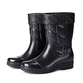Men's Boots Work Boots Rain Boots Daily Office  Career PVC Warm Non-slipping Black Winter