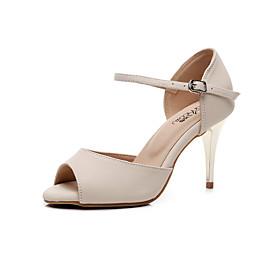 Women's Latin Shoes Heel Slim High Heel Sheepskin Buckle Beige