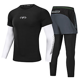Men's 2-Piece Zip Front Activewear Set Running T-Shirt With Pants Athletic Long Sleeve 2pcs Summer Elastane Breathable Quick Dry Moisture Wicking Fitness Runni