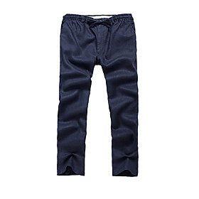 Men's Basic Daily Linen Chinos Pants Solid Colored Outdoor Black Blue Navy Blue M L XL