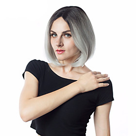 Synthetic Wig kinky Straight Middle Part Wig Short Silver Synthetic Hair Women's Fashionable Design Cosplay Classic Silver