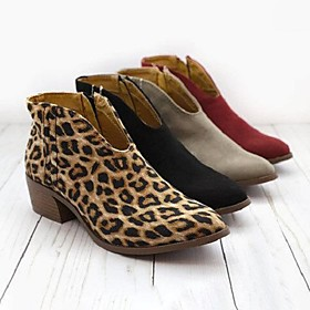 Women's Boots Print Shoes Chunky Heel Pointed Toe Suede Booties / Ankle Boots Summer Black / Orange / Red