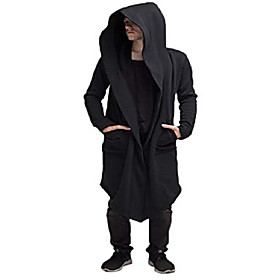 fashion long hooded jacket overcoat solid color hip hop sweatshirt cardigan outwear cloak trench coats for men women (black, xl)