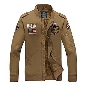 Men's Jacket Regular Letter Daily Basic Black Army Green Khaki M L XL