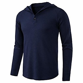 butamp; #39;s causal pullover hoodie lightweight solid color hooded sweatshirt tops long sleeve waffle-knit henley shirt amp; #40;xx-large, navyamp; #41;
