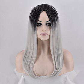 Synthetic Wig Straight kinky Straight Middle Part Wig Long Silver grey Synthetic Hair Women's Party Comfortable Color Gradient Silver
