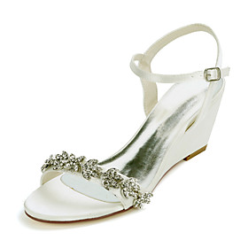 Women's Wedding Shoes Wedge Heel Open Toe Sweet Wedding Party  Evening Rhinestone Solid Colored Satin White / Black / Purple