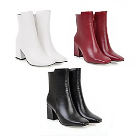 Women's Boots Block Heel Square Toe Casual Minimalism Daily Office  Career Solid Colored Leatherette Mid-Calf Boots Winter White / Black / Red / EU41
