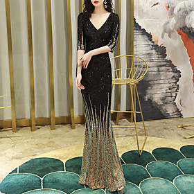 Mermaid / Trumpet Color Block Sparkle Wedding Guest Formal Evening Dress V Neck Half Sleeve Floor Length Sequined with Sequin 2020