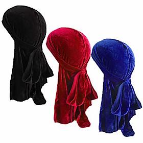 unisex velvet and silky deluxe durag for 360 waves headwraps long-tail du-rag