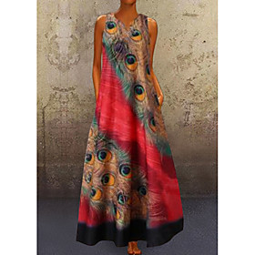 Women's A-Line Dress Maxi long Dress - Sleeveless Peacock Feathers Print Summer V Neck Plus Size Casual Hot Holiday vacation dresses 2020 Red Navy Blue Light B