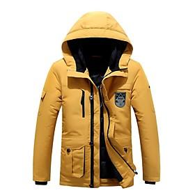 Men's Coat Regular Solid Colored Daily Basic White Black Blue M L XL