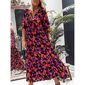 Women's A-Line Dress Maxi long Dress - Half Sleeve Floral Fall Elegant Party 2020 Red S M L XL XXL