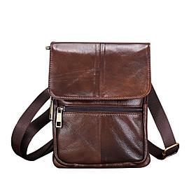 Men's Bags Cowhide Crossbody Bag Zipper for Daily / Holiday Dark Brown