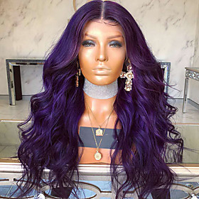 Synthetic Wig Bouncy Curl Loose Curl Middle Part Lace Front Wig Long Bright Purple Synthetic Hair Women's Party Comfortable Exquisite Purple