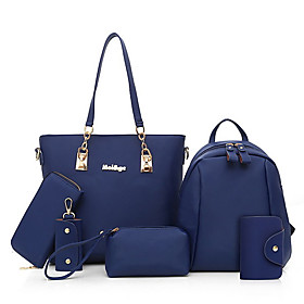 Women's Bags PU Leather / Nylon Bag Set 6 Pieces Purse Set Zipper Solid Color for Daily Black / Blue / Purple / Fuchsia / Bag Sets