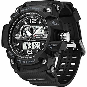 men's watches sports outdoor waterproof military watch date multi function tactics led alarm stopwatch (a11_green)