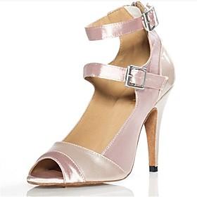 Women's Latin Shoes Heel Slim High Heel Satin Pink