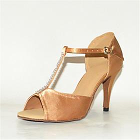 Women's Latin Shoes Heel Slim High Heel Satin Rhinestone Buckle Almond