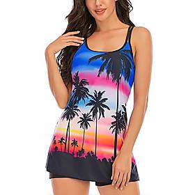 Women's Sexy Online Canada Tankini Swimsuit Backless Criss Cross Tie Dye Scoop Neck Swimwear Bathing Suits Rainbow / Padded Bras