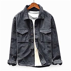 Men's Jacket Parka Casual / Daily Solid Color Fleece Long Sleeve Black / khaki / Green M / L / XL