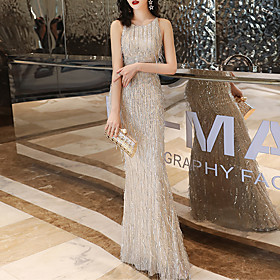 Mermaid / Trumpet Beautiful Back Sparkle Engagement Formal Evening Dress Jewel Neck Sleeveless Floor Length Spandex Sequined with Sequin 2020
